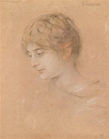 porträt einer jungen frau im halbprofil by franz seraph von lenbach