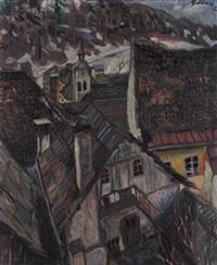 blick über die dächer einer alten kleinstadt an einem wintertag by laszlo gabor
