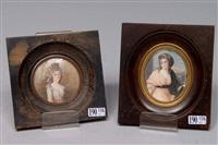 portraits de dame (2 works) by jules emile saintin