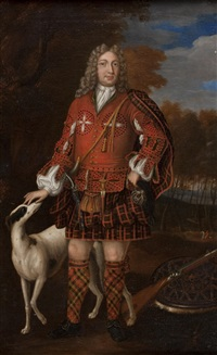 full length portrait of kenneth duffis, 3rd lord of sutherland with his dog by richard waitt
