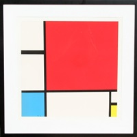 composition with red, yellow, blue by piet mondrian
