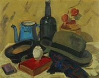 still life with green hat and a patterned scarf by carl fischer