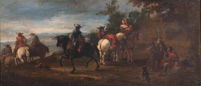 cavalieri e viandanti in un paesaggio paesaggio con cavalieri nei pressi di una locanda pair by pieter van bloemen