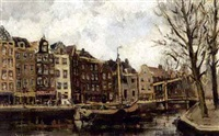 view of a canal in amsterdam by hendrik cornelis kranenburg