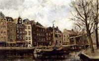 view of a canal in amsterdam by hendrik cornelis kranenburg