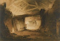 an interior of a barn, possibly in wales by john sell cotman