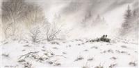 sangliers dans la neige by walter arlaud