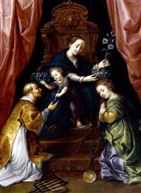 maria mit dem kind, dem heiligen laurentius und einer heiligen by marten pepyn