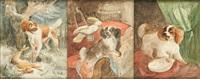 scènes animées de chiens (3 works) by henriette ronner-knip
