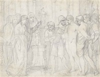 study for pylades and orestes brought as victims before iphigenia by benjamin west
