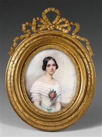 portrait de jeune femme en robe blanche ornée d'un carnélia by etienne bouchardy
