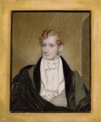 mr. f. tracy, seated in green coat with black velvet collar, white waistcoat and gold watch chain, a black cloak over his shoulders by henry collen