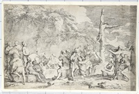 apollo and the cumaean sybil (+ the crucifixion of polycrates; 2 works) by salvator rosa