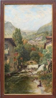 pêcheur dans un paysage de montagne by abel boulineau