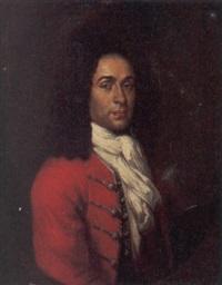 ritratto di gentiluomo in marsina rossa con camicia bianca e parruca nera by paul mignard