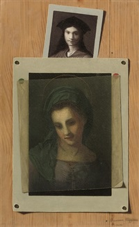 a trompe l'oeil with a print of the madonna by francesco alegiani