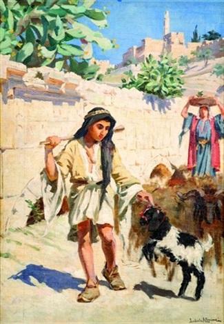 berger aux abords de la citadelle à jérusalem by ludovic alleaume