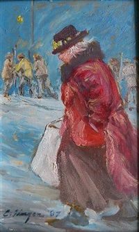 old lady on street by clyde singer