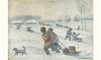jeux de luges dans la neige by mikhail nikolaevich yakovlev