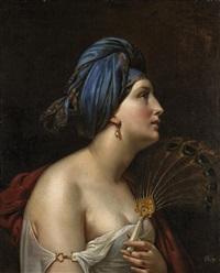 femme au turban et à l'éventail en plumes de paon by etienne raffort