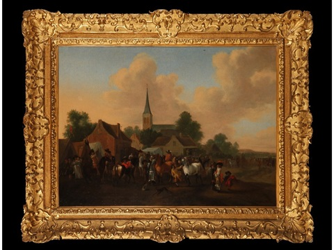 a horse fair in a village setting with buildings and a church beyond by pieter wouwerman