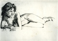 nude sketch (+ 4 others; 5 works, various sizes) by laurence campbell