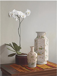 white orchid and vases by renato meziat