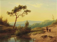 a hilly landscape with travellers during sunset by cornelis lieste