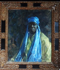 a portrait of a black man wearing a blue headdress and a yellow tunic by henry young alison