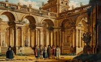 elegant people in front of an old palace by jacopo fabris