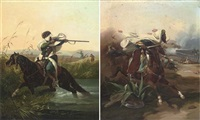 an arab cavalry charge (+ a pot-shot on the retreat; pair) by victor-jean adam