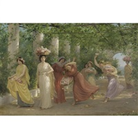 maidens and roses by jennie augusta brownscombe
