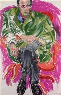 portrait d'homme assis au fauteuil rouge by lydie arickx