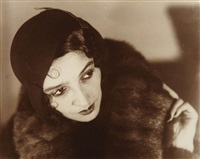 renée perle, portrait in black hat and fur, paris by jacques henri lartigue