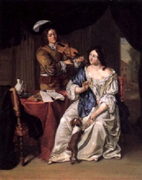 a young lady listening to a violinist by willem verschuring the younger