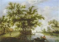 flußlandschaft mit fischerboot und einer hohen baumgruppe by pieter cosyn