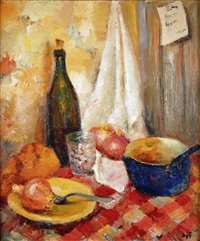 nature morte à la nappe aux carreaux rouges by marcel dyf