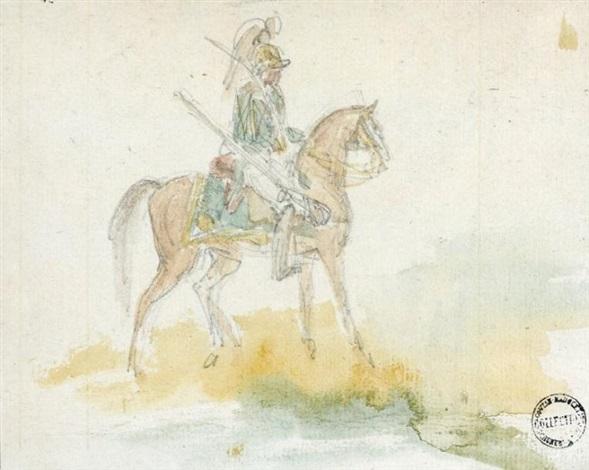 cuirassier à cheval cheval sketch verso by théodore géricault