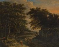 chariot attelé traversant un gué by adriaen hendricksz. verboom