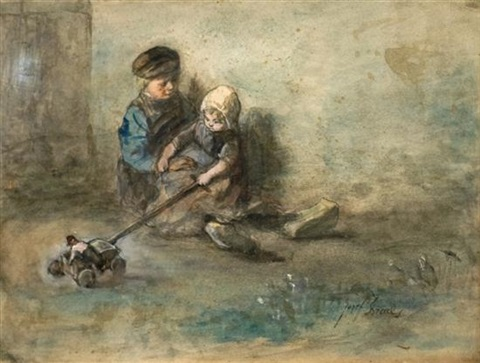 children playing by jozef israëls