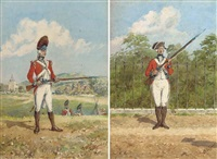 a private of the 60th royal american regiment, 1780 (+ 2 others; 3 works) by reginald augustus wymer