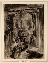 miner with lamp by george bissill