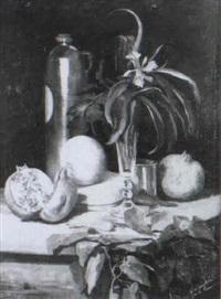 bodegon con granadas y lirio by d. de la iglesia de g. gamero