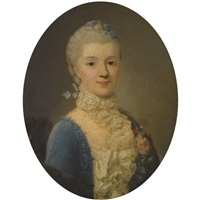 portrait of a lady, wearing a blue dress and lace collar by giuseppe baldrighi