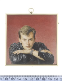 a young man, called ricardo insua-cao, leaning on the back of a chair and wearing leather jacket and watch by michael bartlett