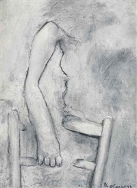 girl with arm over chair by george segal