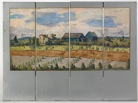 landscape with houses by faye (swengel) badura