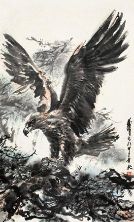 雄鹰展翅 eagle stretching wings by huang zhou