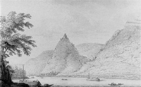a view of braubach and marksburg on the rhine by hendrick de leth