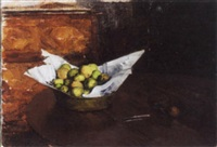 a still life with apples in a basket by elisabeth francoise roelofs bleckmann